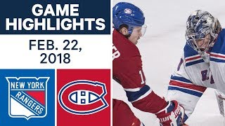 NHL Game Highlights | Rangers vs. Canadiens - Feb. 22, 2018