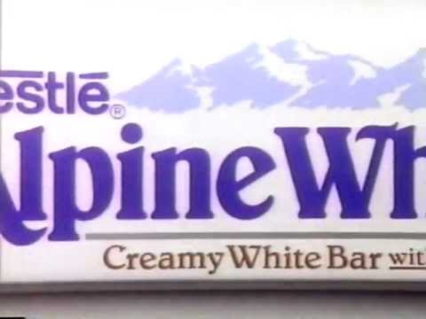Nestle Alpine White chocolate bar commercial 1990
