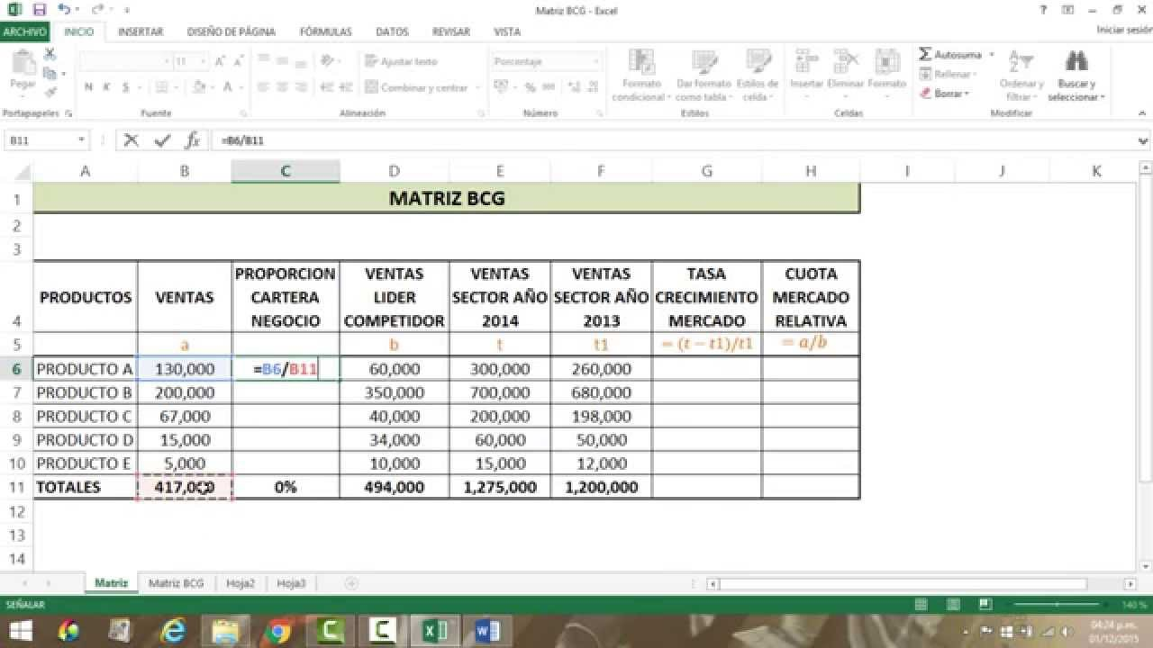 Calculo De La Matriz Bcg Boston Consulting Group Youtube