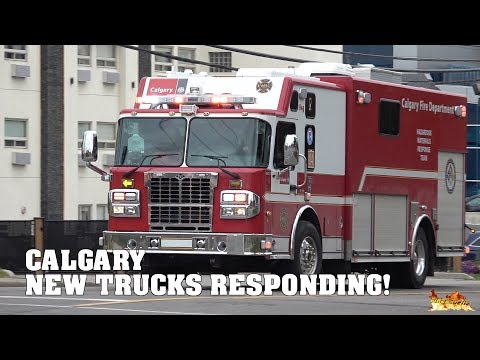 *BRAND NEW FIRE TRUCKS RESPONDING!* [Calgary Fire] - HazMat 4, Rescue 4 & Engine 4
