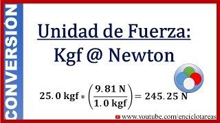 Convertir de Kilogramo-Fuerza a Newton (Kgf a N)