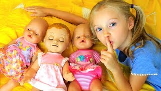 Are you sleeping brother John  Polina pretend play with Baby dolls