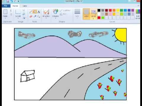 Tutorial paint - Menggambar pemandangan pegunungan - YouTube