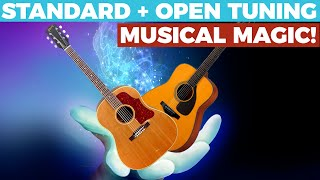MUSICAL MAGIC! - How to Blend Acoustic Guitars - Standard + Open Tuning - Home Recording Tips