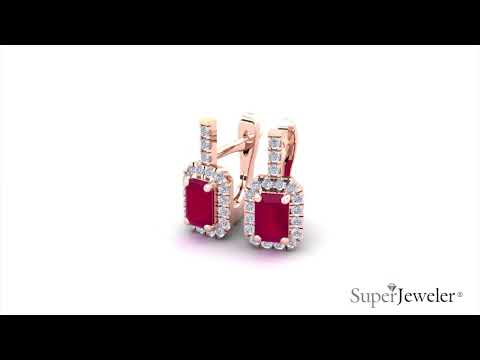 H051749 | Emerald Cut Ruby and Halo Diamond Dangle Earrings In 14K Rose Gold