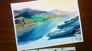 Уроки акварели для начинающих. Рисуем пейзаж с лодками.
