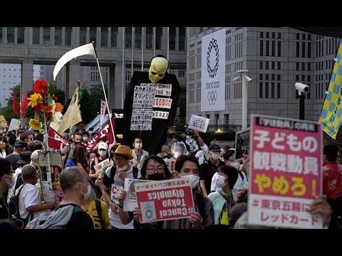 東京五輪「中止を」 都庁周辺で市民デモ