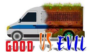 Good vs Evil | money Van | Vehicle Battles For Children | cartoon car battles