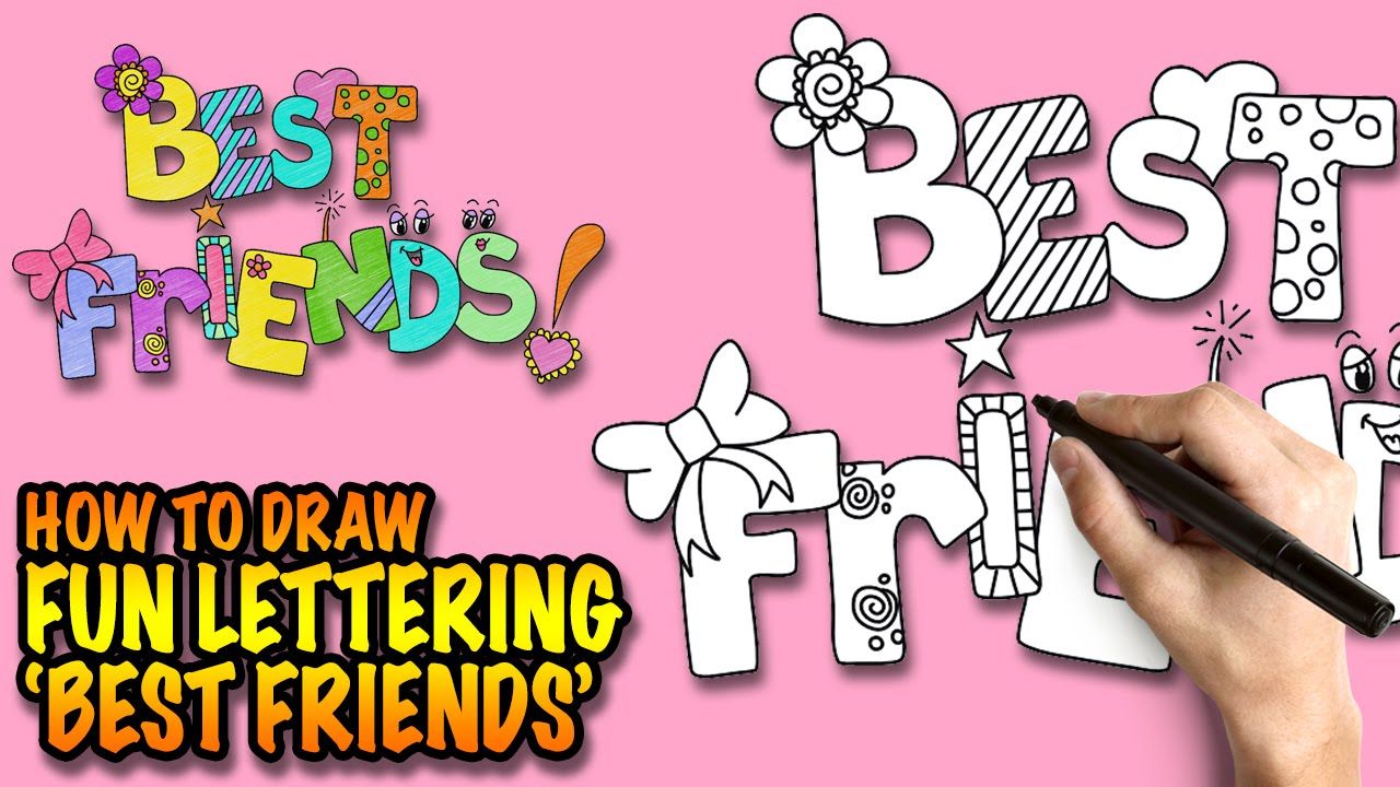 How to draw Best Friends - Fun Lettering - Easy step-by-step drawing ...