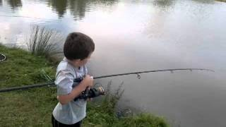 Louis Hill - 7 Years old - Catching a six pound mirror carp