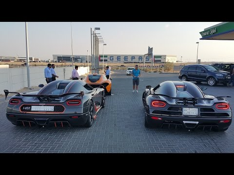 First Koenigsegg Agera RS Driving with Agera R + Mclaren P1 in Dubai!