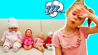 Vitalina pretend play hide and seek with dolls.