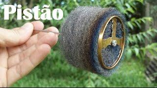 """Tutorial """"Como fazer o pistão deslocador em lã de aço, para motor Stirling"""""""