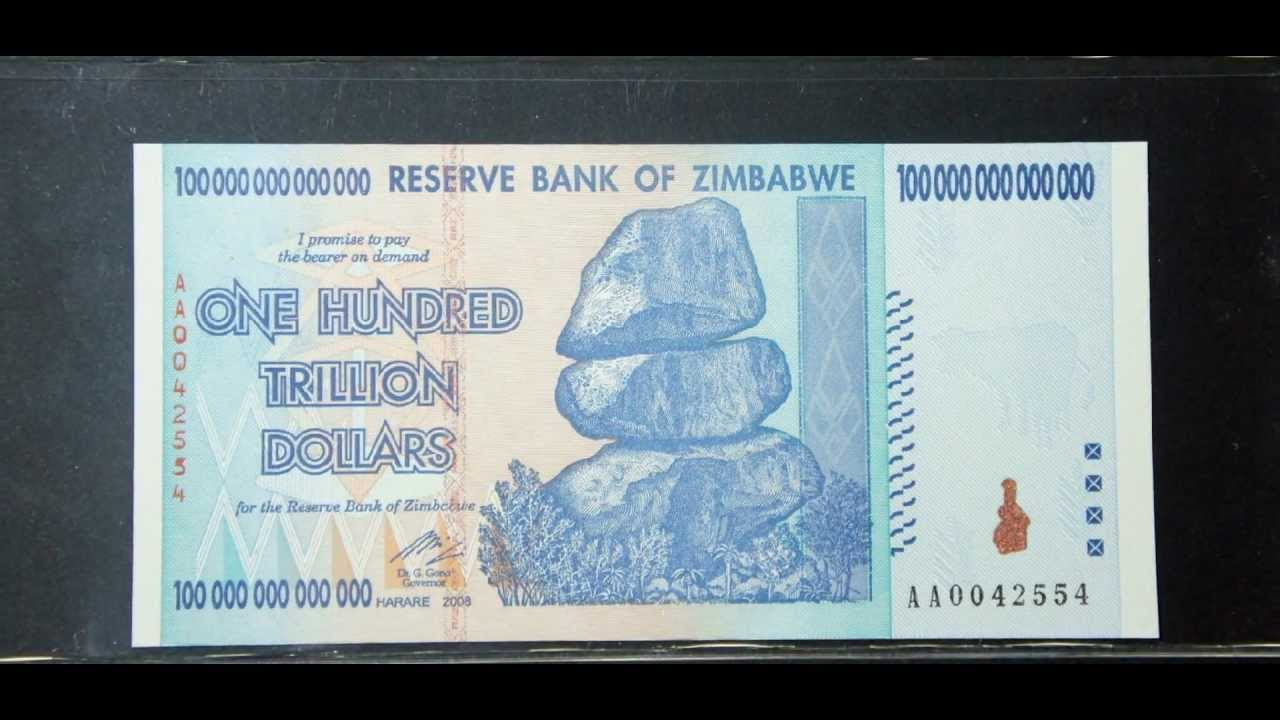 100 Trillion Dollars 2008 Zimbabwe Banknote Highest Denomination In History You