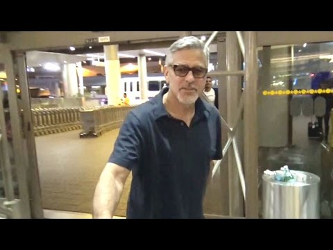 George Clooney Asked About Baby Names Catching A Red-Eye Out Of LAX