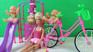 Maşa Barbie ve İkiz Bebekler Bisiklet Sürüyorlar - Maşa Barbie Türkçe Çizgi Film