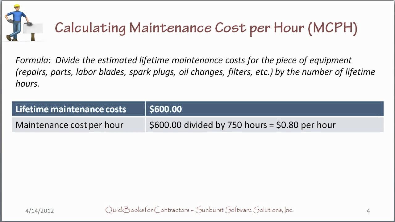 Determining Equipment Costs Per Hour