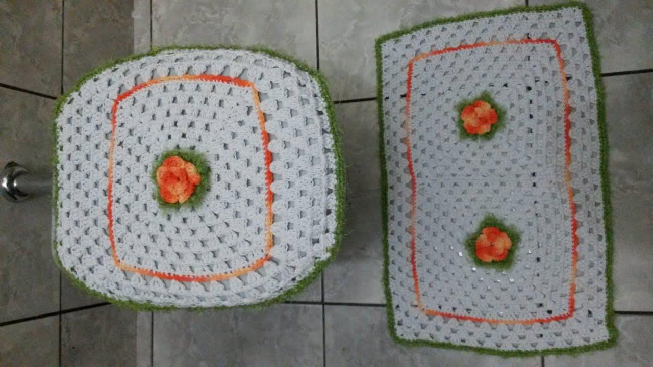 CROCHÊ  JOGO DE BANHEIRO SIMPLES # PARTE 1  YouTube -> Jogo De Banheiro Simples Em Croche