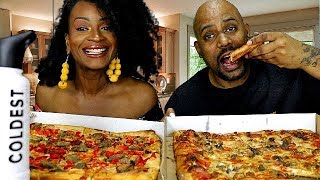 PIZZA PARTY FRIDAY MUKBANG! + BRAISED BEEF LASAGNA! WE CHEATED!