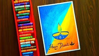 Diwali Card Drawing (Very Easy) with Oil Pastels for beginners - Step by Step