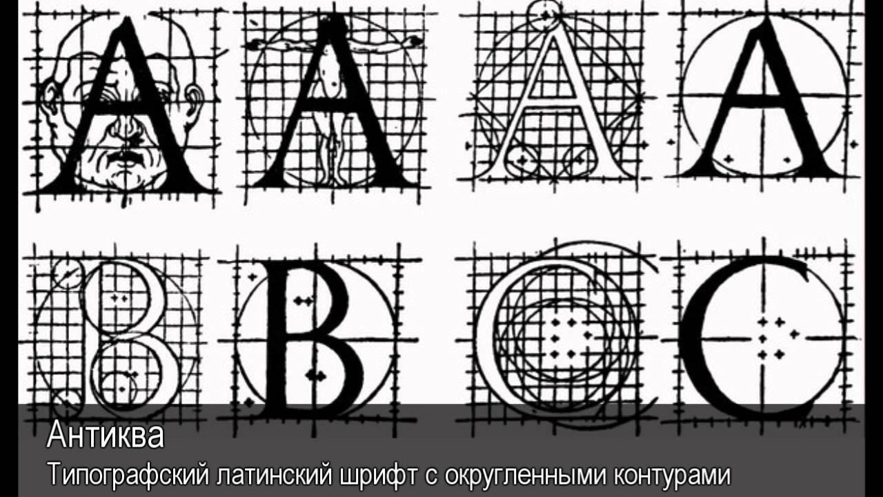 Шрифт антиква русский построение