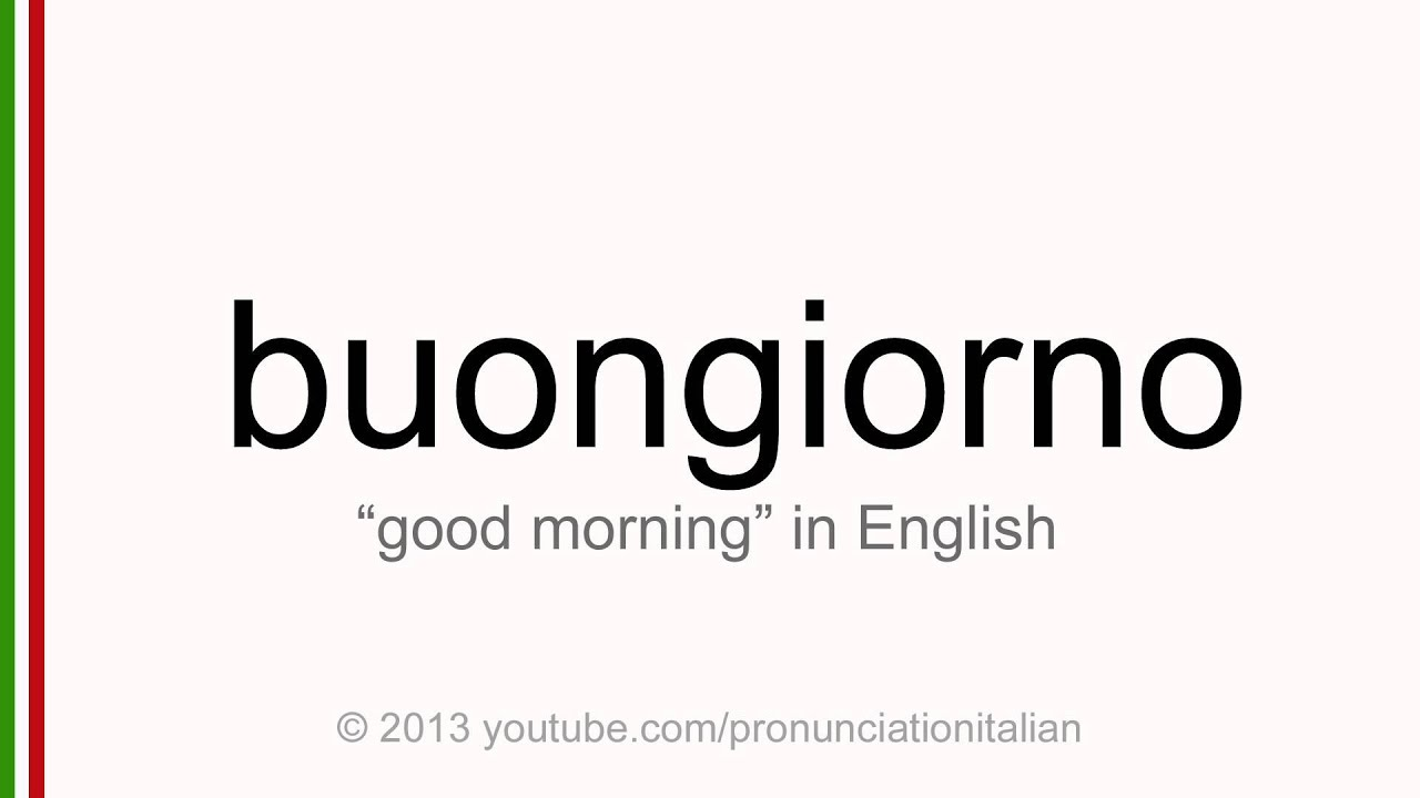 Say hello in italian bonjourno