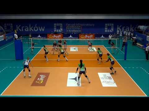 Ewelina Brzezińska OUTSIDE HITTER Polish League 2017-2018 nr 14 green shirt