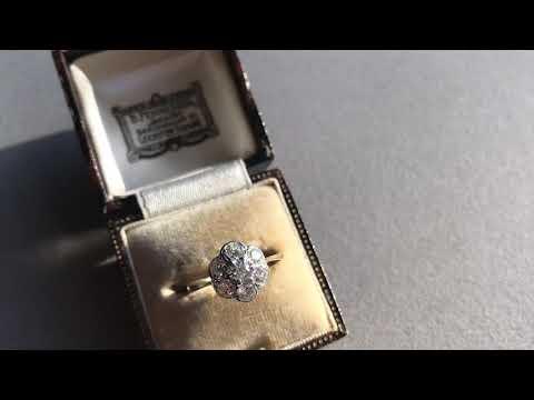 edwardian-diamond-daisy-engagement-ring,-vintage-proposal-wedding-jewellery,-antique-gold-jewelry