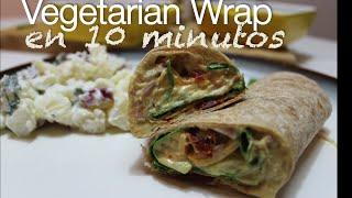 Easy Hummus Wrap Vegetarian - Receta Facil Wrap Vegetariano
