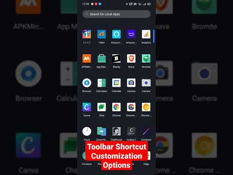 Toolbar Shortcut customization options