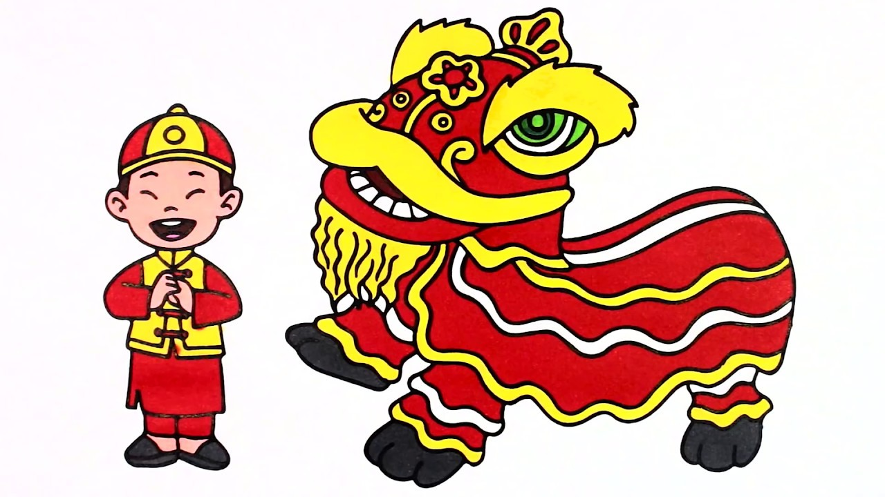 draw and coloring lion dance coloring pages for kids learn colors with cloudy art - Lion Coloring Pages