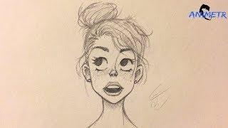 """Animasyon Yüz Çizimi 4 / How To Draw Animation Girl Face """"Kız Çizimi"""""""