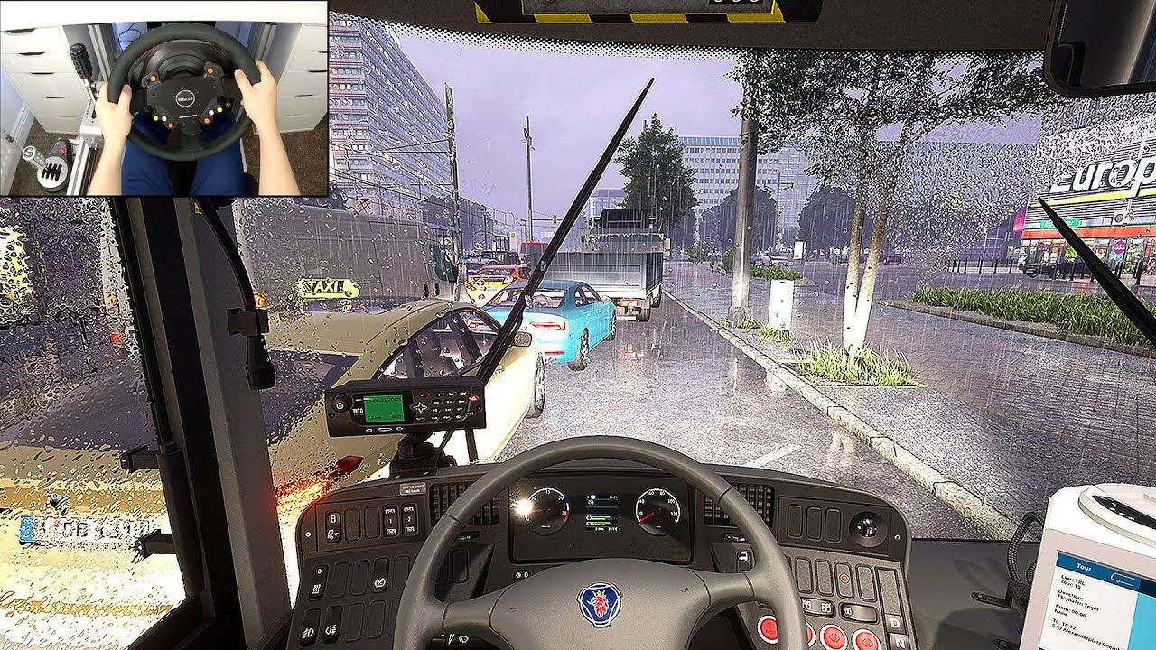 DRIVING A BUS IN A THUNDERSTORM - THE BUS (Steering Wheel + Shifter) Gameplay
