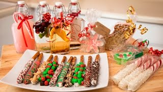 3 HOLIDAY EDIBLE GIFT IDEAS!! (Chocolate Pretzels, Cookie Cutter Fudge, & 4 Flavored Vodkas)