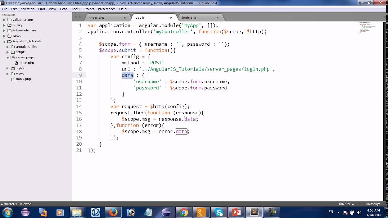 AngularJS : send form data to php part 2 - YouTube