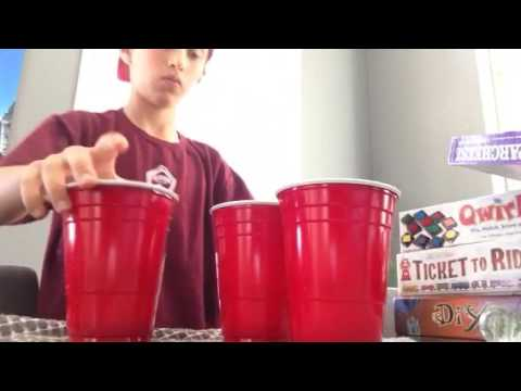 Cup blowing: Flip land blow 2 times