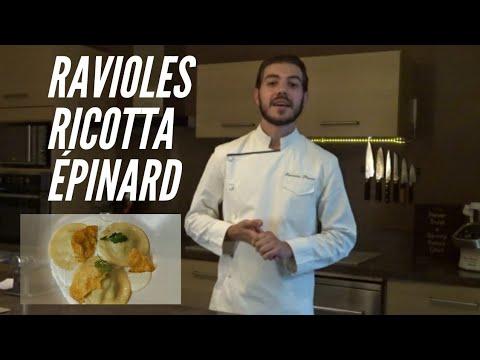 ravioles-ricotta-épinards,-crème-basilic-et-tuile-parmesan