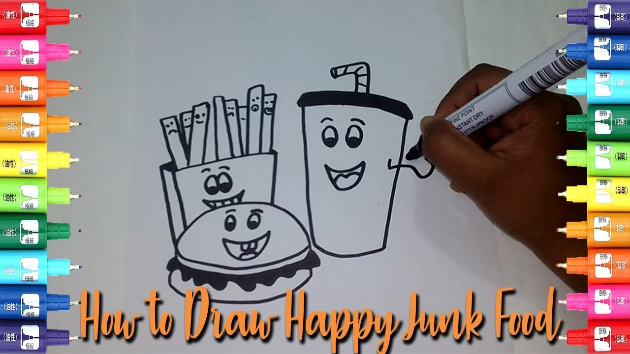 How to draw junk food step by step-Easy Kids Drawing Tutorial