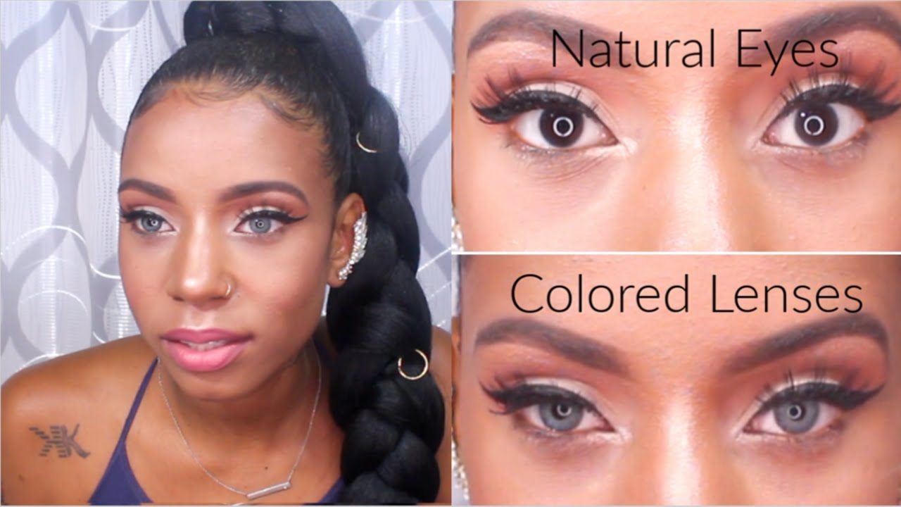 COLORED CONTACTS ON BROWN SKIN  IRIS BEAUTY