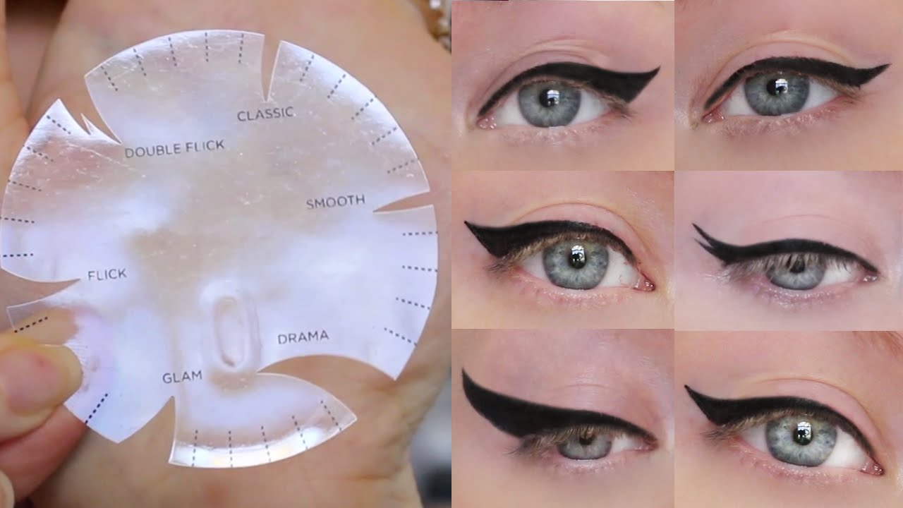 image about Eyeliner Stencil Printable called Winged Eyeliner Guideline 6 Option Layouts, A person Stencil