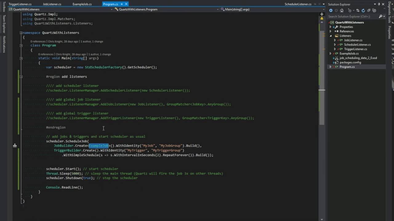 Quartz NET Listeners for calendars, triggers, and jobs