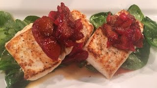 Mass Appeal Halibut With Spinach And Rhubarb Chutney
