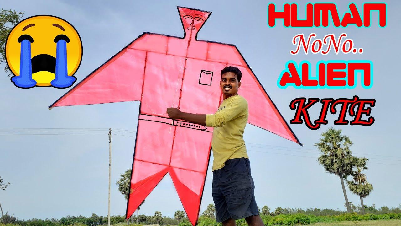 😎😎😎இப்படி கூட பட்டம் செய்யலாம்   Human Kite Making And Flying   இது என்ன பட்டமா   Will It Work?