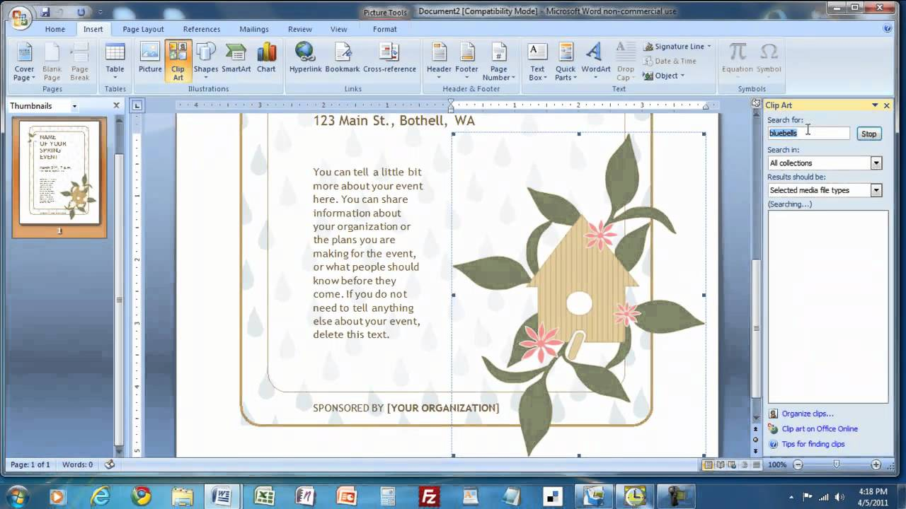 how to create a flyer in ms word mp4 youtube