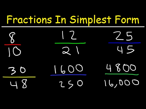 Reducing Fractions to Simplest Form - Lowest Terms, Simplifying ...