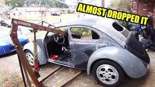 Body Comes Back Off - ROTTEN OLD 1956 Chop Top Oval VW Beetle - 64