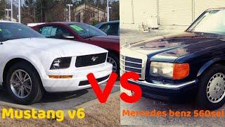 Mercedes benz 560sel vs mustang v6 racing / highway street racing in Saudi Arabia