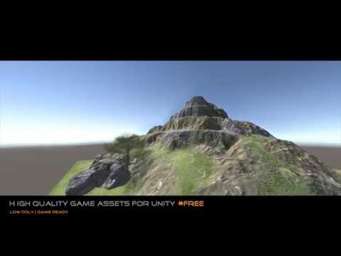 FREE Game Asset for Unity 2017 Mountain terrain + rock + tree : Made with  Unity