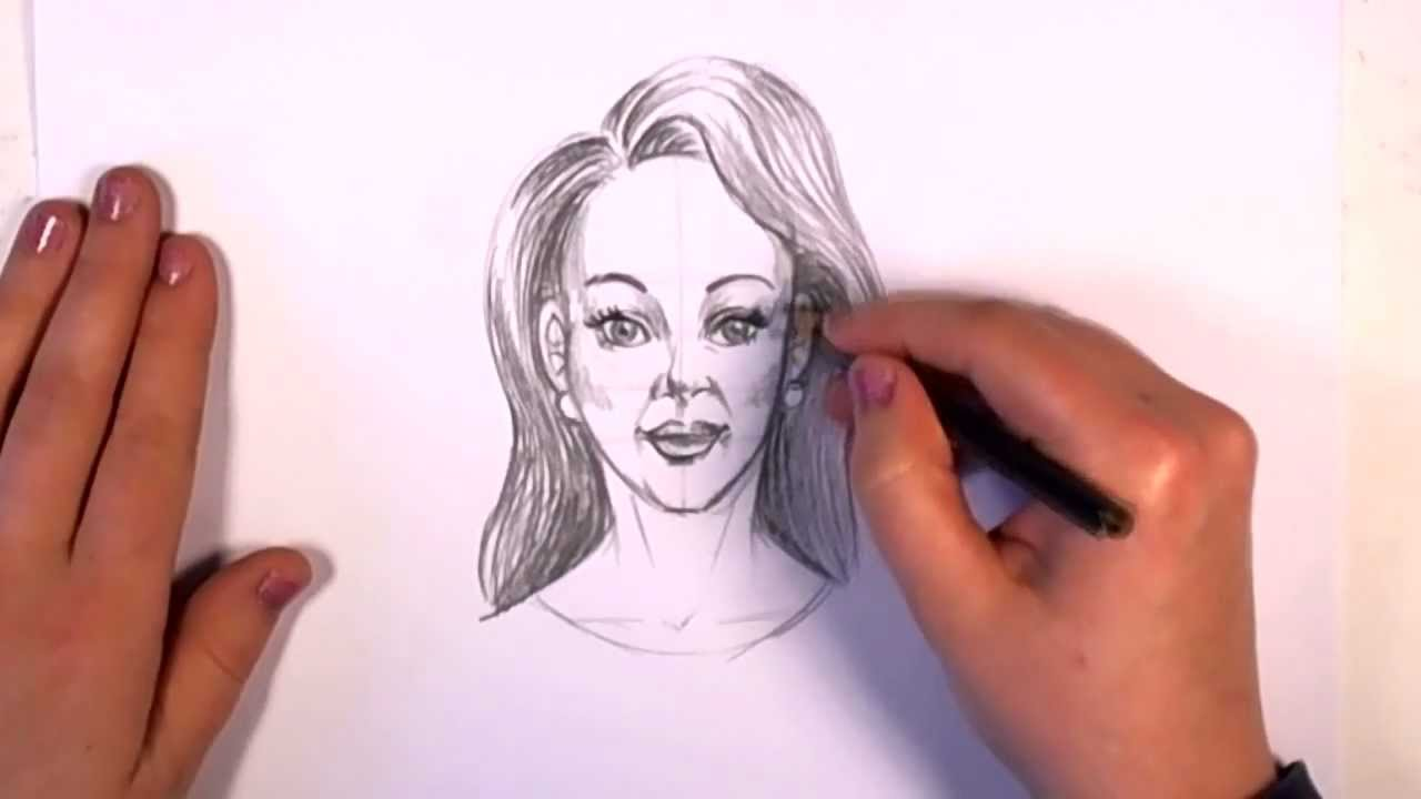 How To Draw A Woman Face With Pencil
