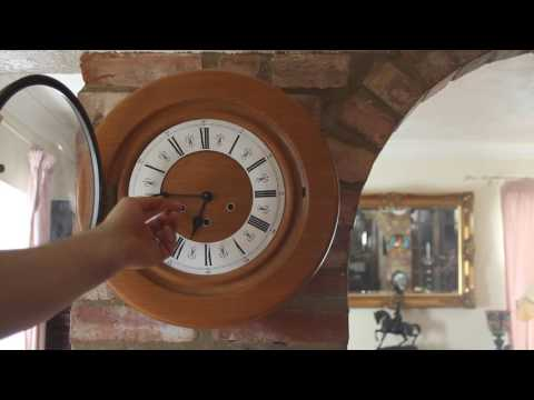 Vintage Unusual 'Smiths' Light Oak 8-Day Wall Clock with Westminster Chimes